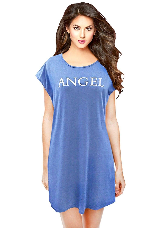 a6974a12d7 Womens Short Sleeve Nightgown Sleepshirt Letter Print Keyhole Back Sleep  Tees Shirt Sleepwear - Blue - C9189TNOHDL
