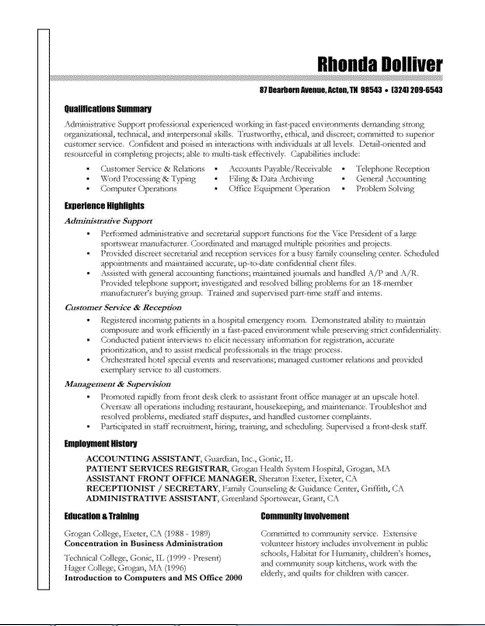 Effective Resume Writing Examples -    jobresumesample - patient registrar sample resume