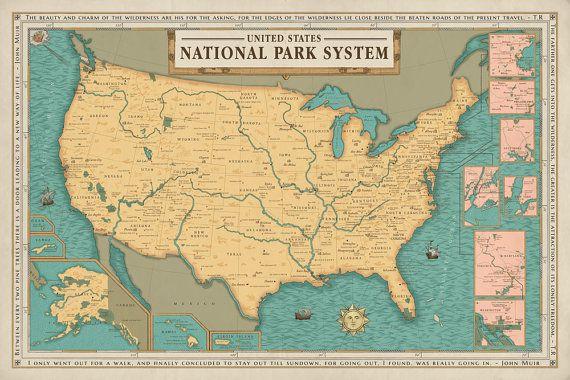 National Park System Units Map Poster, National Park Service Map ...