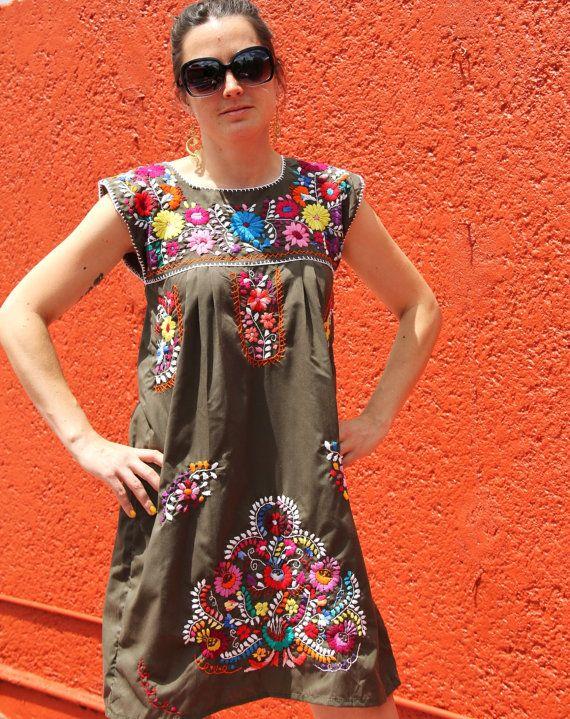 Huipil Embroidered Bohemian dress | The Wardrobe | Pinterest