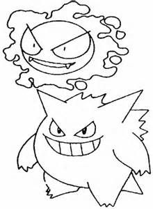 Gengar Pokemon Coloring Pages Sketch Template
