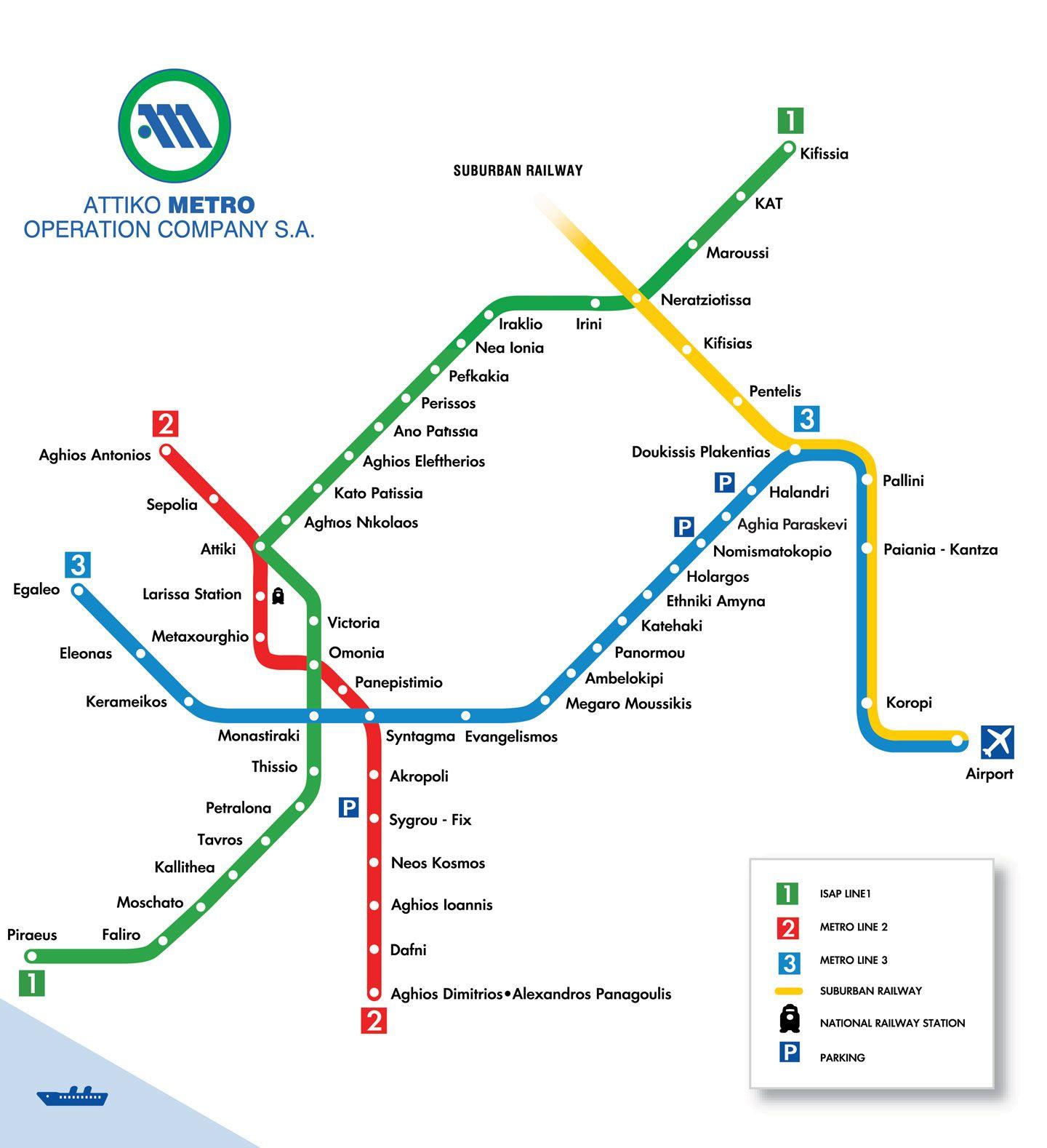 Athens Metro Athens Metro Metro Map Athens Airport