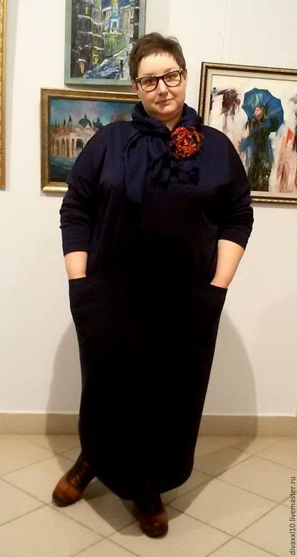 Большие размеры ручной работы. Платье синее трикотажное с карманами. Елена Кабушева. Интернет-магазин Ярмарка Мастеров. Платье длинное
