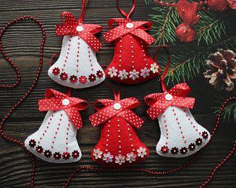 Christmas ornament felt Santa, Red White felt Christmas ornaments, Father Christmas decor #feltchristmasornaments