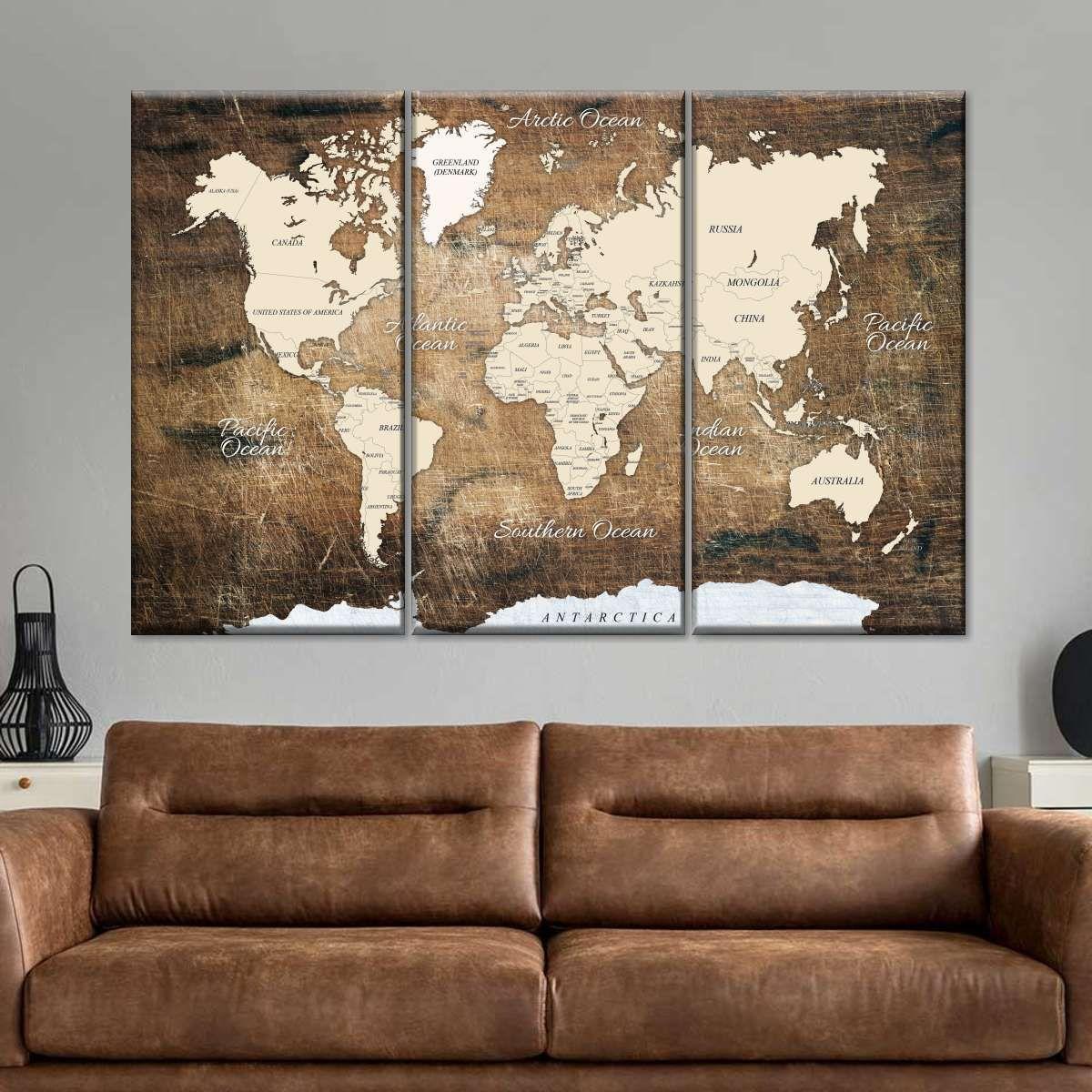 World Map On Ancient Wood Multi Panel Canvas Wall Art In 2021 Wall Canvas World Map Decor Canvas Wall Art