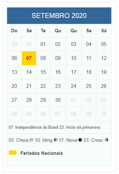 Calendario 2020 Com Feriados.Calendario 2020 Com Datas De Feriados Nacionais E Datas