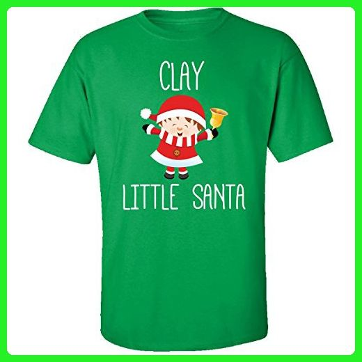 Clay Little Santa Christmas - Adult Shirt Xl Irish-green - Holiday and seasonal shirts (*Amazon Partner-Link)
