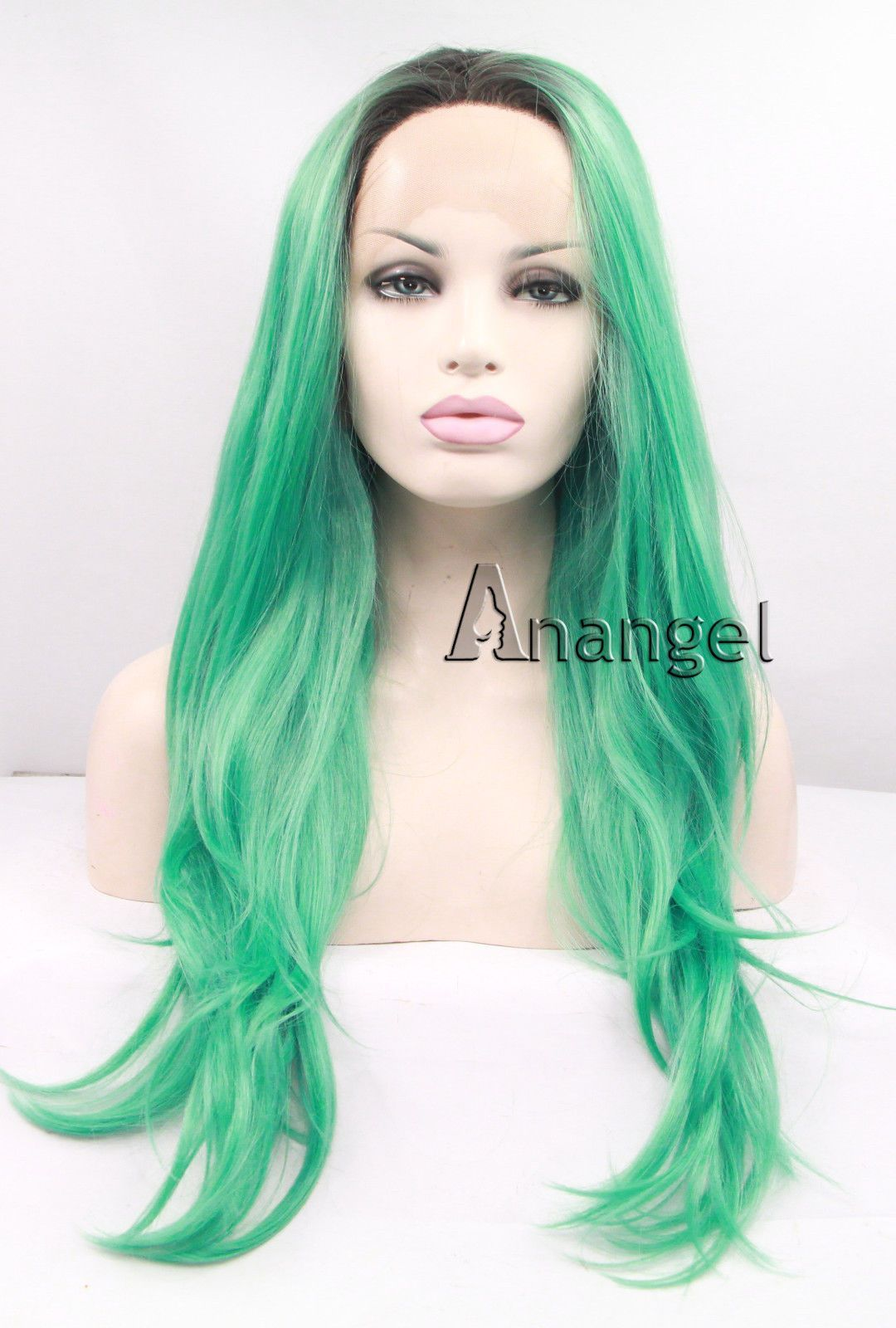 Light Roots Synthetic Lace Front Wig Long Wavy Green Ombre Hair Women S Wigs 613c91fd57