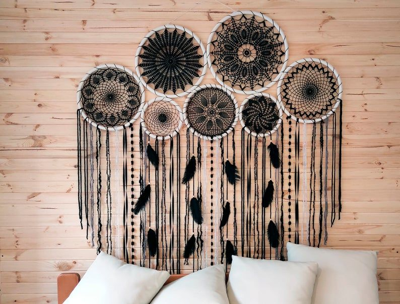 Would this black dream catcher backdrop melt your heart? Absolutely. This is a beautiful handcrafted boho chic dreamcatcher set will bring peace and serenity to your living room. Consider this dreamcacher, if are looking for party decorations or photoshoot props, or simply a boho headboard for your bedroom. Amazing wall art for a dream bohemian home. Pure beauty.  #dreamcatcherbackdrop #dreamcatcherset #bohoparty #partydecorations #daughterbirthday #firstbirthdaygift