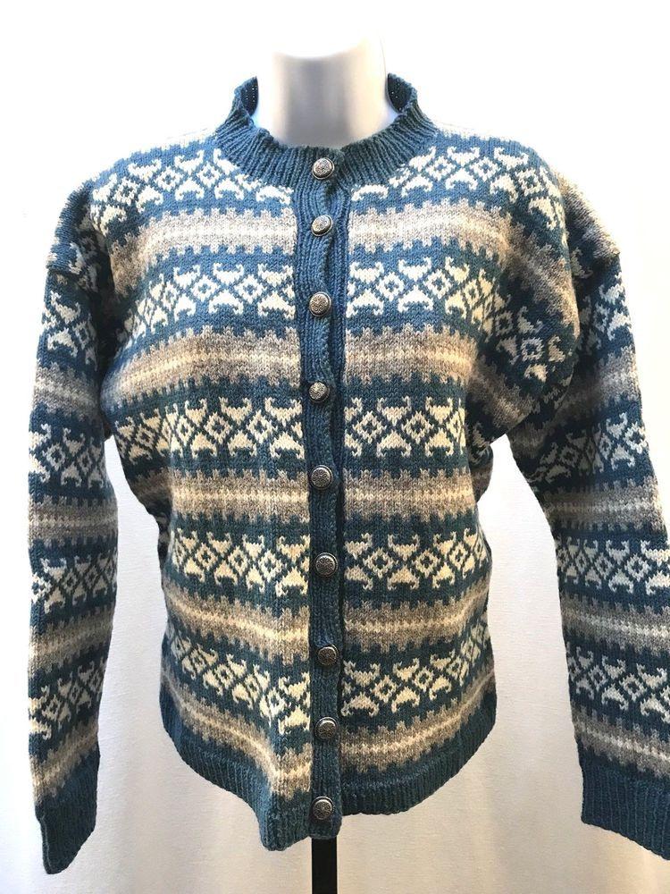 Vintage Wool Fair Isle Sweater Nordic Cardigan Women's