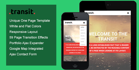 Transit One Page Transition Template (Creative