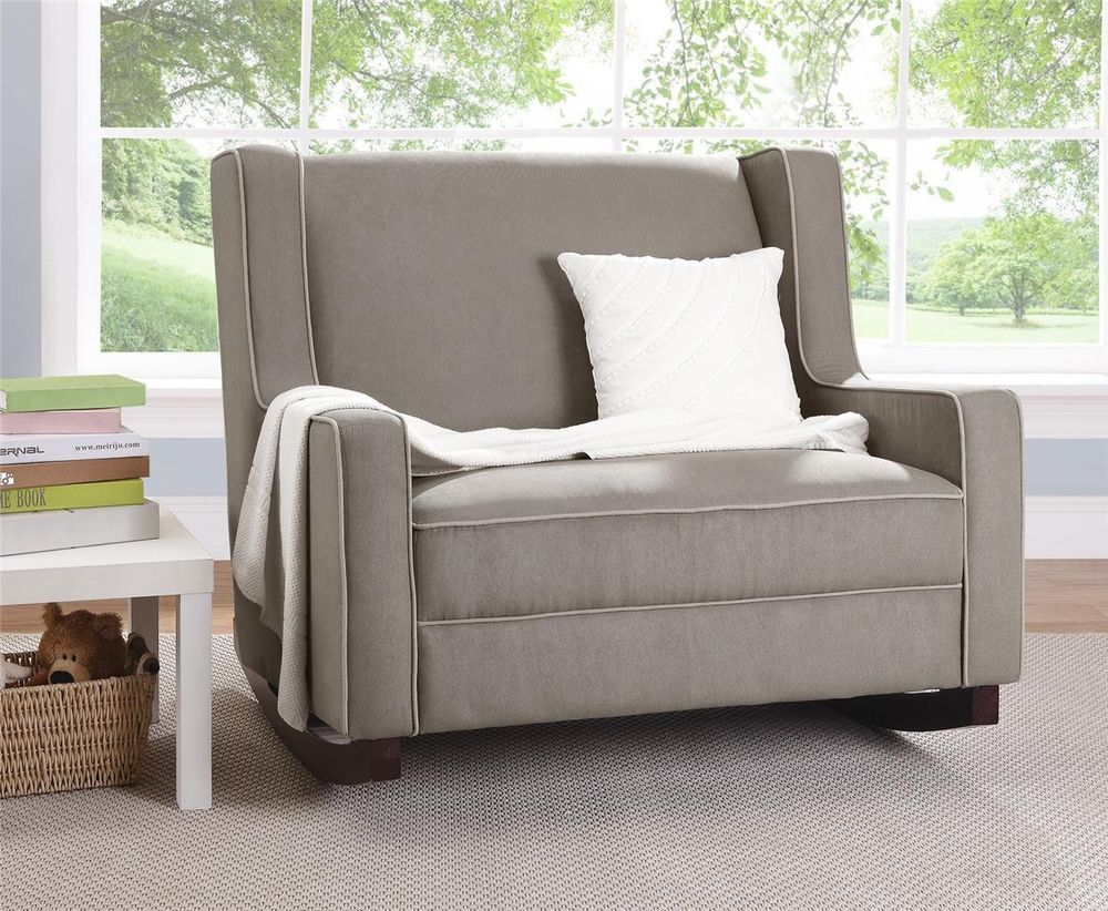 Double Wide Rocking Chair Taupe Upholstered Baby Rocker Nursery Furniture New
