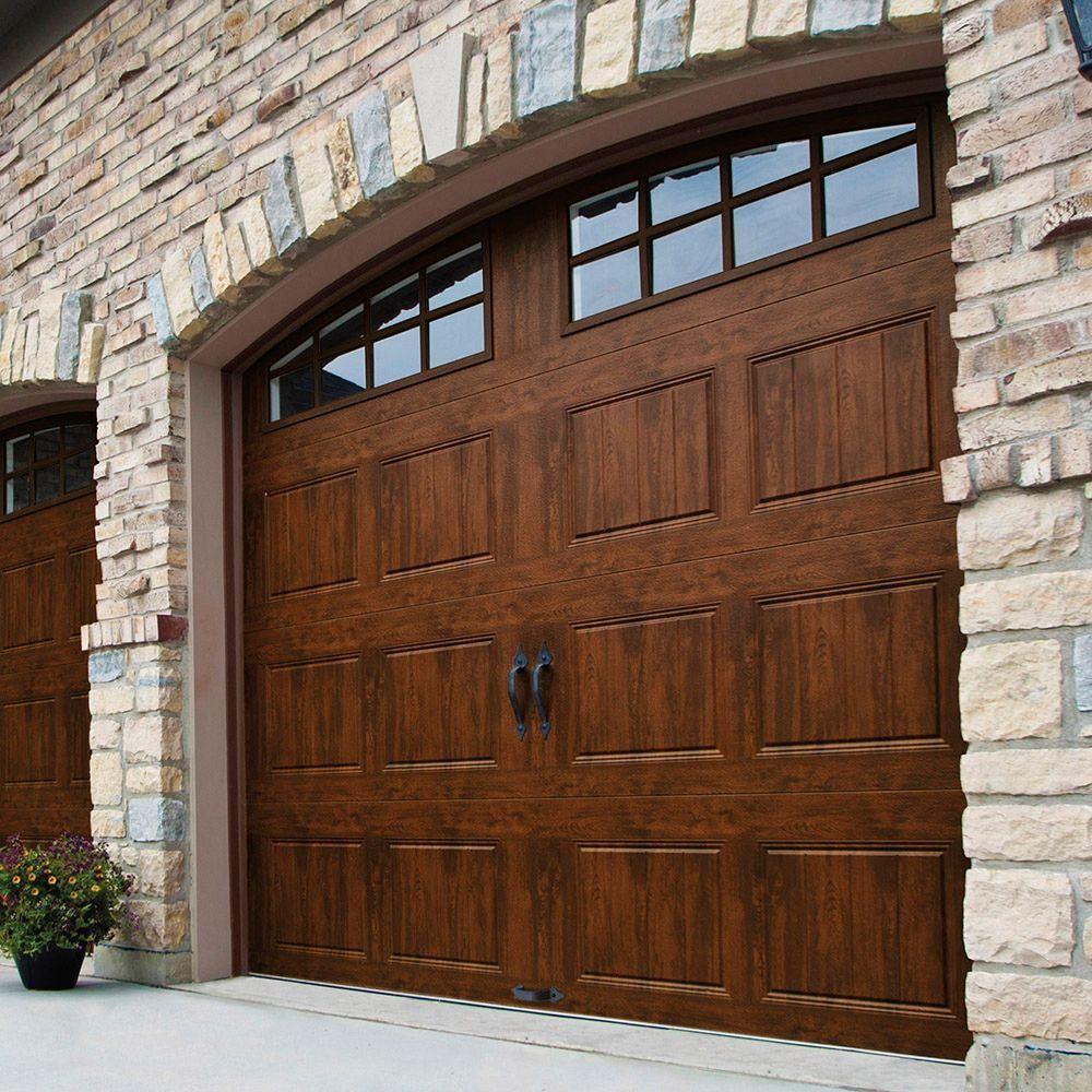 Clopay Gallery Collection 8 Ft X 7 Ft 18 4 R Value Intellicore Insulated Ultra Grain Walnut Garage Garage Door Design Garage Door Styles Brick Exterior House