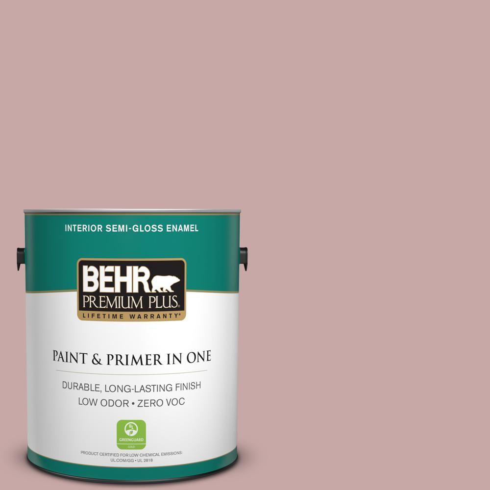 BEHR Premium Plus 1-gal. #140E-3 Rose Bisque Zero VOC Semi-Gloss Enamel Interior Paint