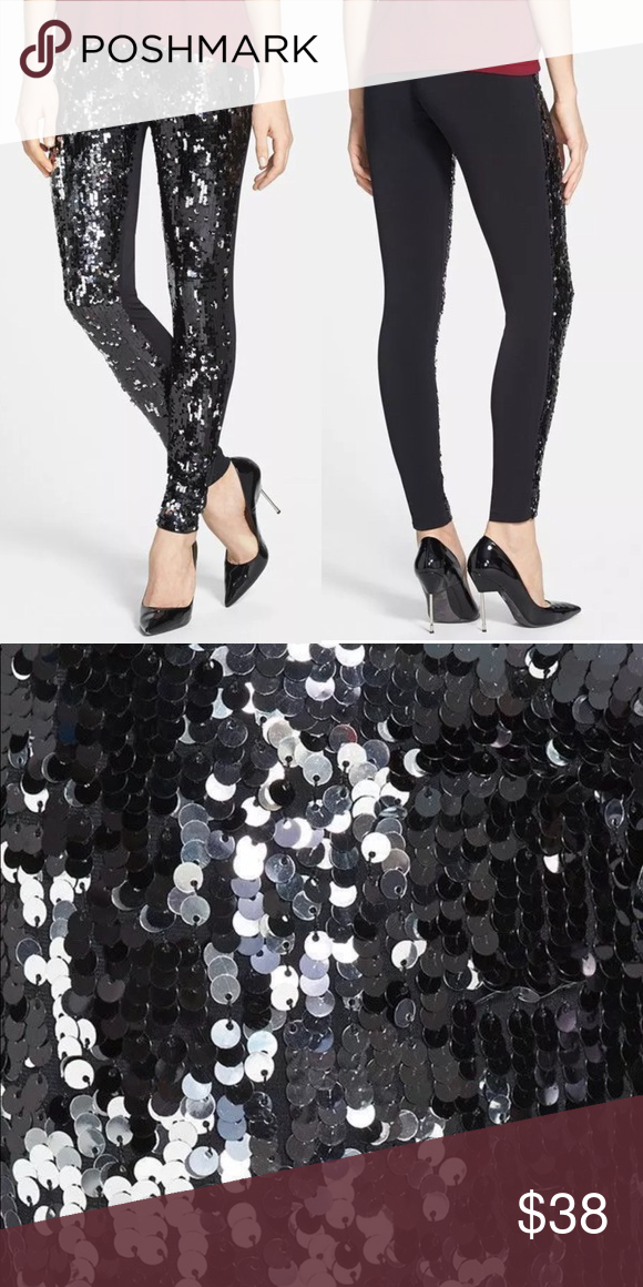 4a2a3d160cfce Black Sequined Skinny Leggings New with tags, Nordstrom black leggings.  Front is covered in mermaid black & silver sequins. Back is a satin  material.