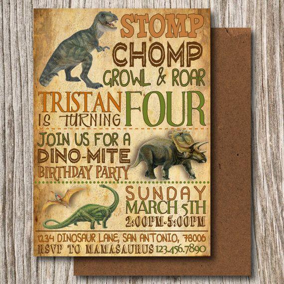 Dinos Dinosaur T Rex Digital Real Invitation Dig PRINTABLE Party Birthday