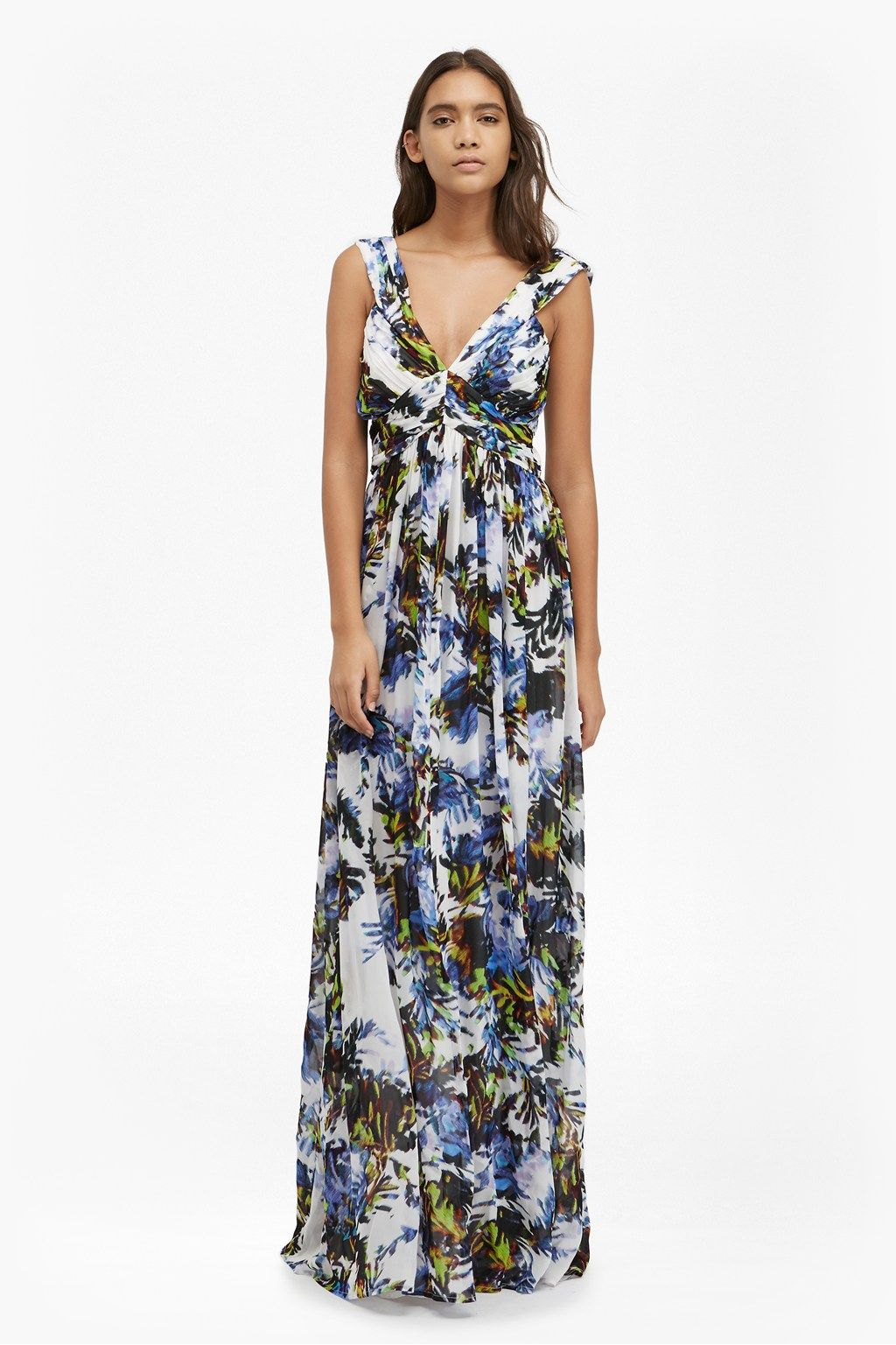 Kiki Palm Ruched Maxi Dress   New Arrivals   French Connection Usa ...