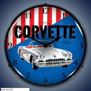 American Neon Back Lit Oil Gas Wilderness Corvette Clock Wall Clock Light 1958 Corvette