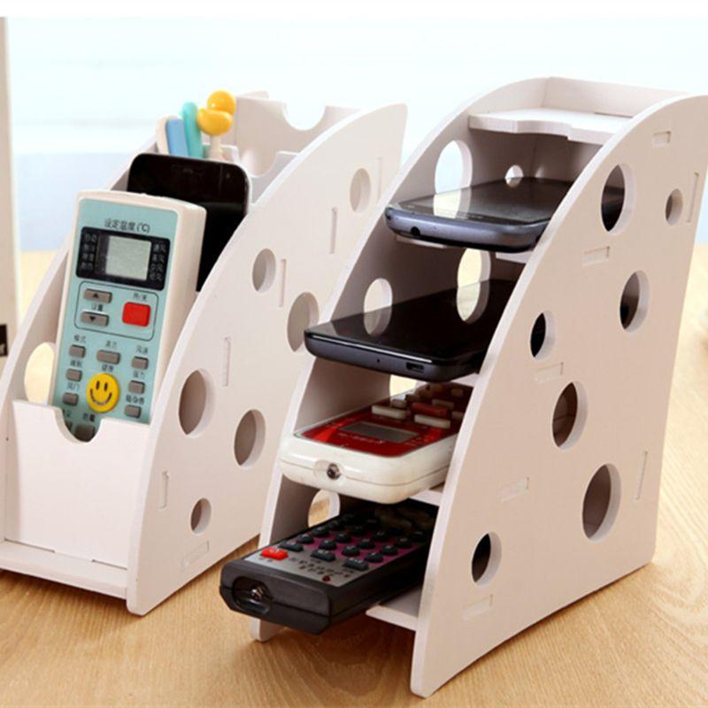 pas cher 1 pcs 3 pcs bricolage bois 4 fente de bureau bo te de rangement pour t l commande. Black Bedroom Furniture Sets. Home Design Ideas