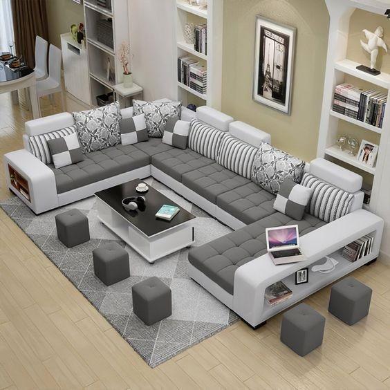 Selena Dark Grey Light Grey Sectional With Chaise Furniture Design Living Room Living Room Sofa Design Luxury Sofa Design
