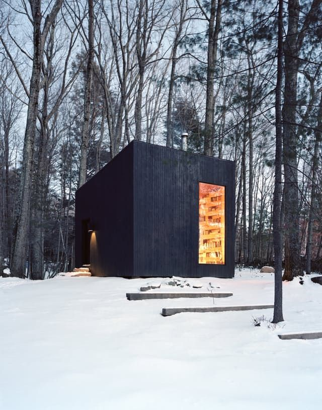 Modern Cabins Id Love to Curl Up In Solid oak Wood burning and