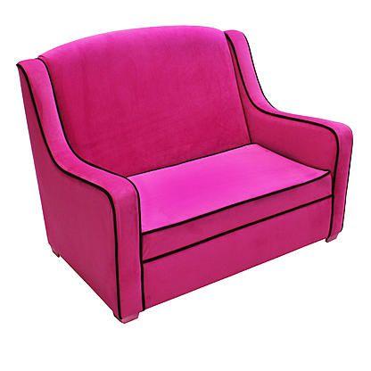 Komfy Kings Tween Camille Sofa Hot Pink Velvet With Black Piping Alternate Image