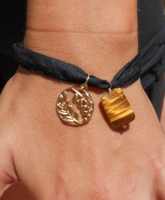 Ribbon with tiger's eye and leaf charm by PanachebyAmanda on Etsy, $22.00