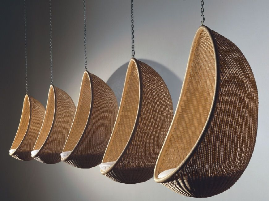 Amazing Iconic Egg, A Rattan Hanging Chair Designed In 1957 By Nanna And Jørgen  Ditzel, Still In Production Today By Bonacina, Italy.