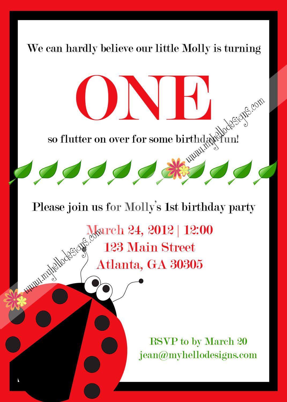 Printable Ladybug Invitation - Lady bug Invite DIY - boy