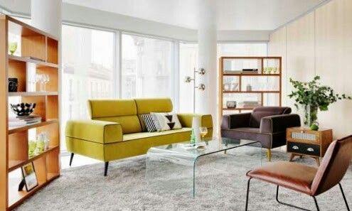 Colores lima,  gris y piel natural con muebles en color avellana y una mesa de centro en vidrio