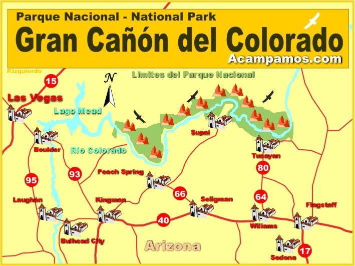 Mapa Del Parque Nacional Del Gran Cañón Del Colorado Arizona - Mapa de colorado usa