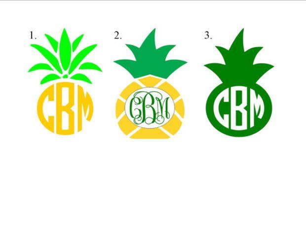 Pineapple Personalized Monogram Decal Monogram Sticker Custom - Monogrammed custom vinyl decals for car
