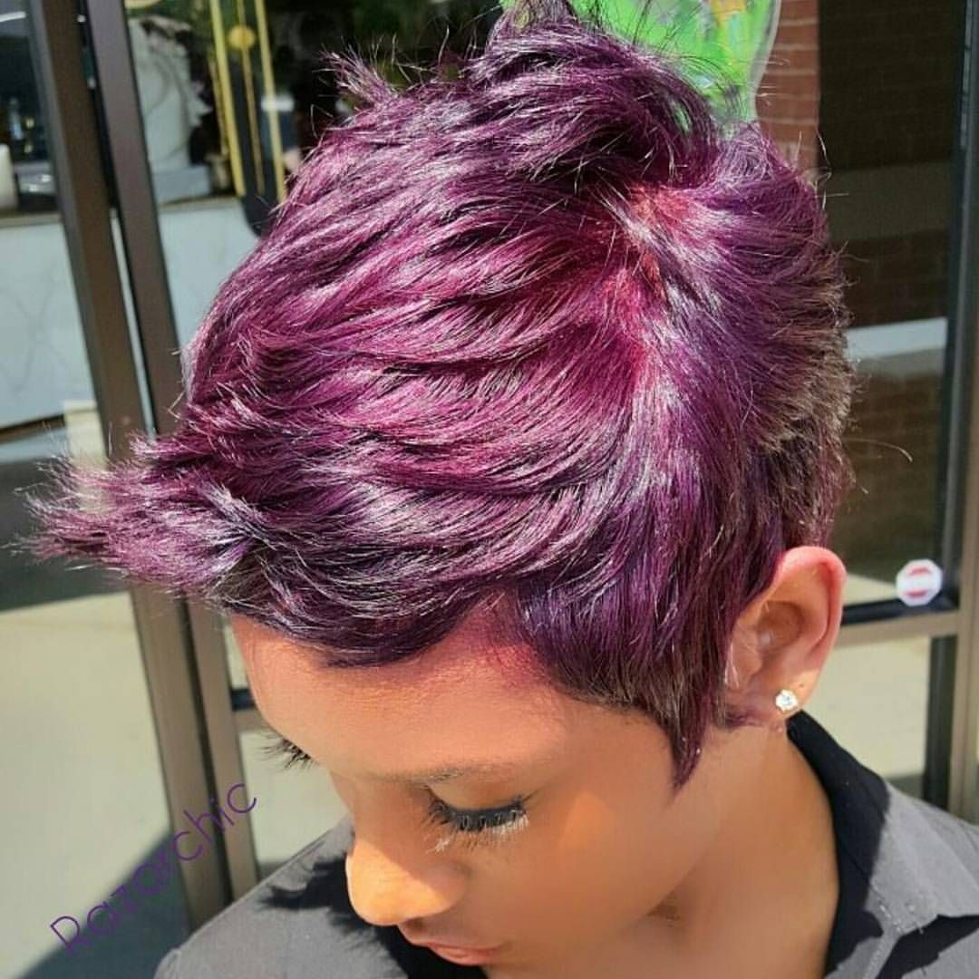 Purple pixie razorchic atlanta atlhairstylist razorchic