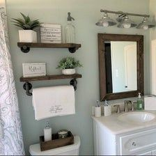 SET OF 2 Bathroom Floating Shelves Wood Floating Shelf Set Farmhouse Decor Wooden Wall Shelves Towel Bar Shelf Pipe Shelves Towel Rack Set