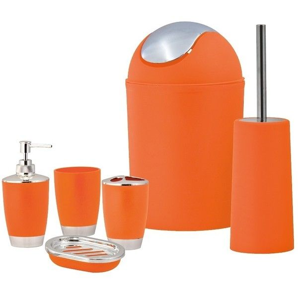 Beau SQ Professional Orange Bathroom Accessory Set 6pc ($20) ❤ Liked On Polyvore  Featuring Home