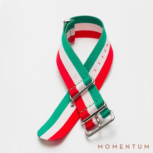 Green, white and red striped nato available in steel buckle: http://momentum-dubai.com/collections/watch-straps/products/watch-strap-nato-green-white-red-striped