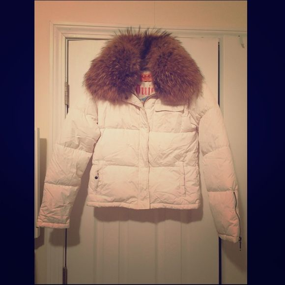 Real Fur White Puffer Jacket Lovely real fur puffer jacket in excellent condition! Juicy Couture Jackets & Coats Puffers