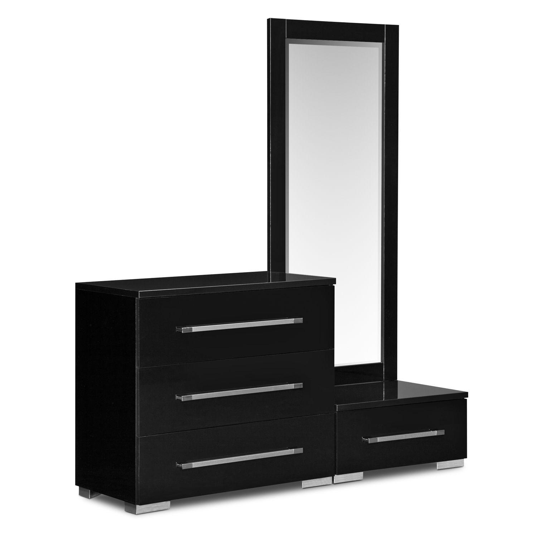 Dimora Dressing Dresser and Mirror with Step - Black | Dresser ...