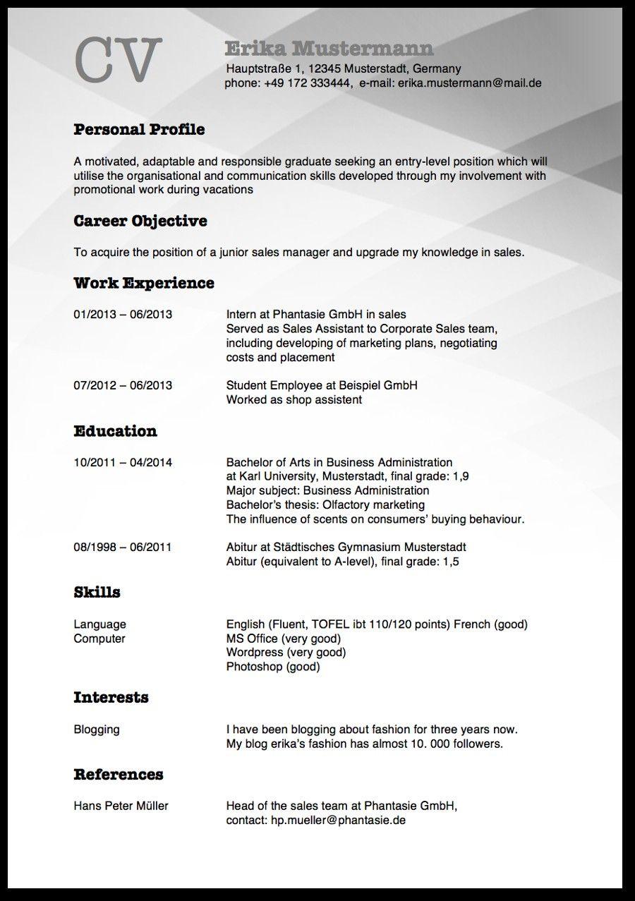 Englisch Klasse 9 Curriculum Vitae Modelo De Curriculum Vitae Cv English Curriculum Vitae Writing Tips