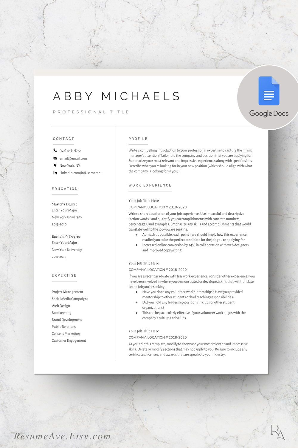 Modern google docs resume / cv template nurse resume / cv
