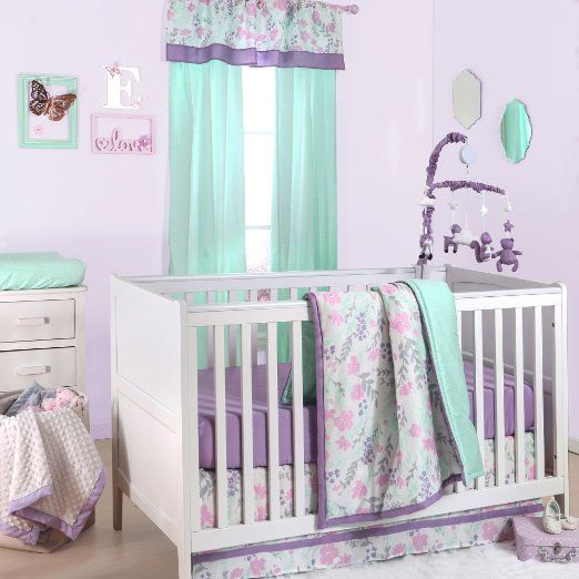 Pink And Purple Floral And Mint Dot 4 Piece Crib Bedding