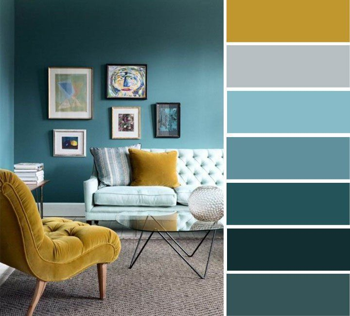The best living room color schemes - Blue, Turquoise & Mustard