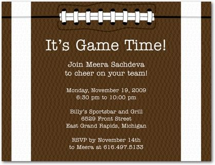 Game Time Football Party Invitation Postcards in Chocolate – Super Bowl Party Invitations