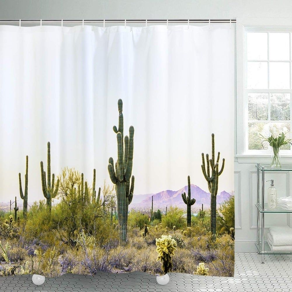 Polyester Shower Curtain With Hooks Cactus 70 X 70 Green White