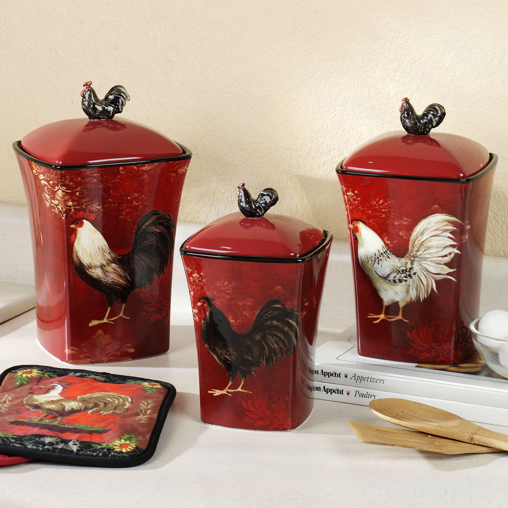 Certified international parisian fruit canister by susan winget set - Avignon Rooster Canister Set Burgundy Set Of Three