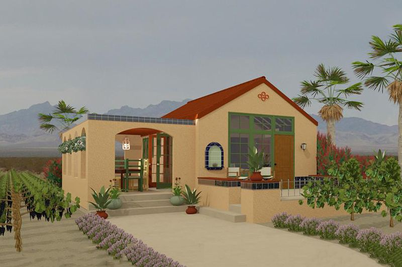 Adobe southwestern style house plan 1 beds 1 baths 398 for Adobe home builders california