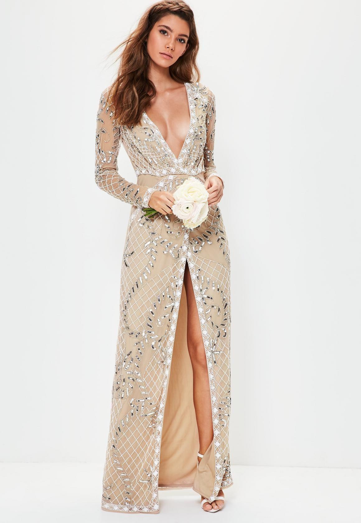 Missguided Bridal Nude Long Sleeve Plunge Embellished Maxi Dress