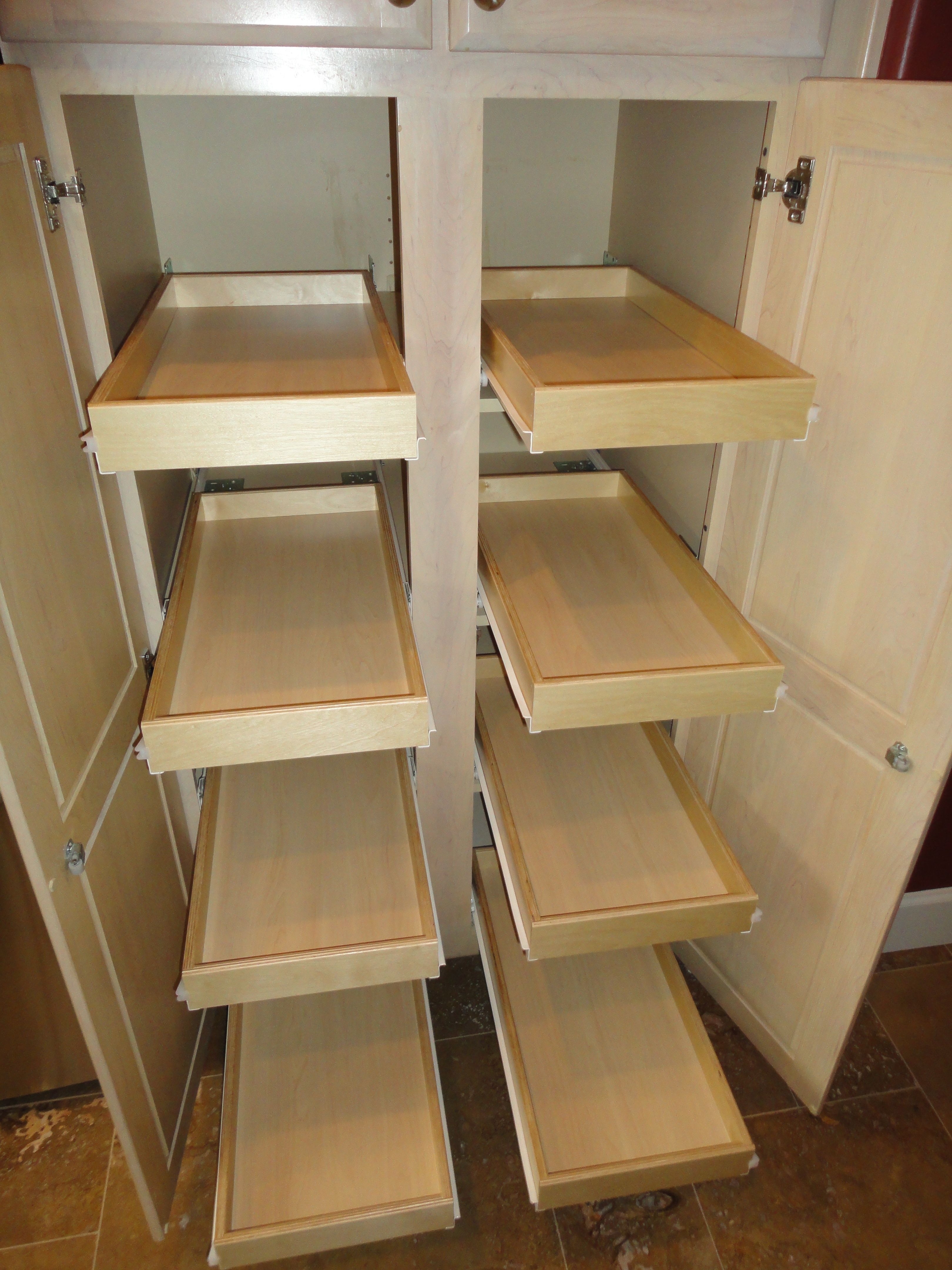 8 Slide Out Shelves Added To Pantry Cabinet Oh Michele In 2019 Slide Out Shelves Shelves Pantry Cabinet