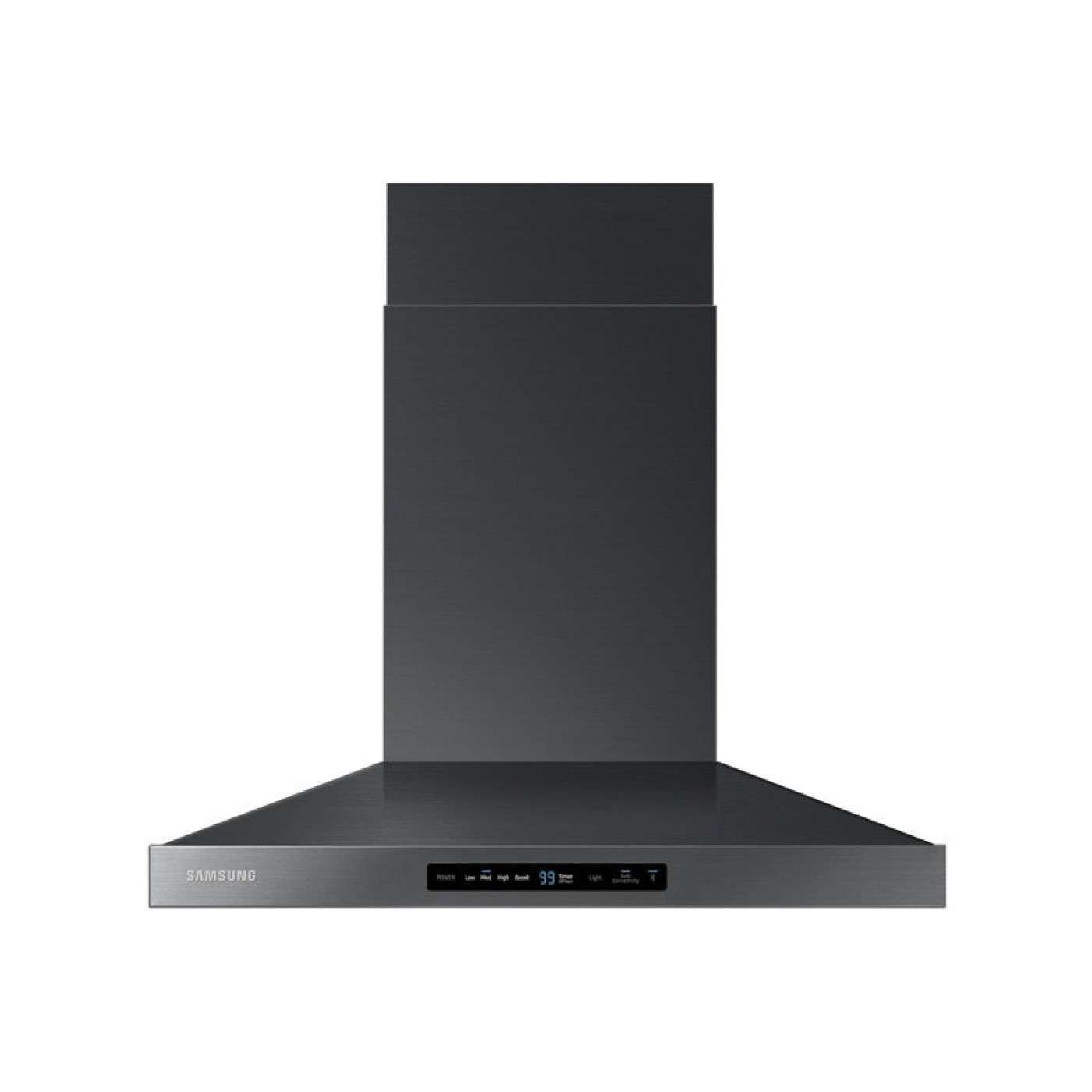 "30"" Black Stainless Steel Chimney Style Wall Mount Range Hood 600"
