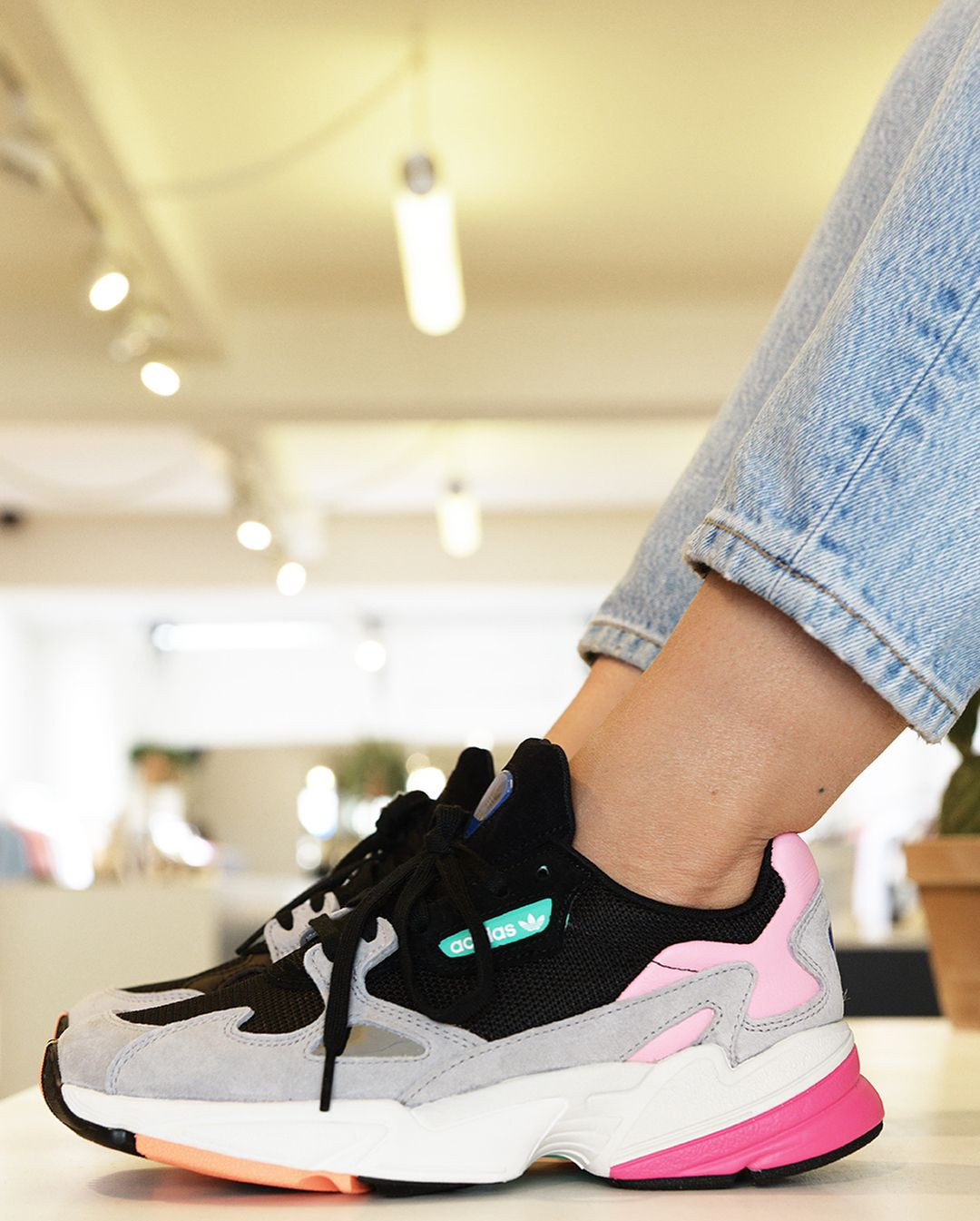 Lizzy is wearing one of the hottest Adidas releases to date The new Adidas  Falcon launches 6efa19720